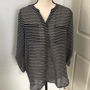 Covington semi-sheer black striped blouse 👚 L